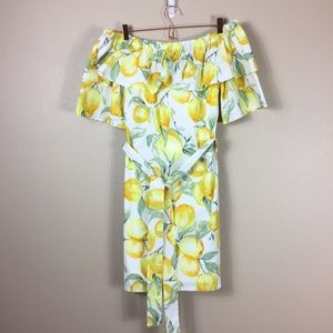 Betsey Johnson Off Shoulder Lemon Print Dress